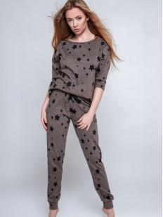 Женская брючная пижама из хлопка с принтом звездочки