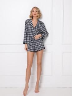 Клетчатая женская пижама: шорты и рубашка на пуговицах