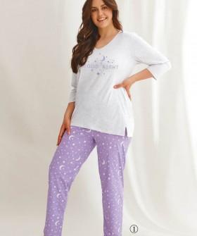 Женская пижама большого размера с космическим принтом