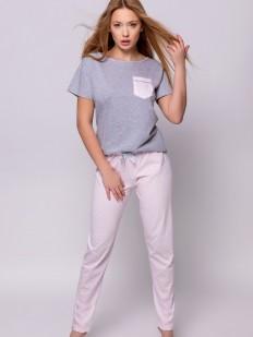 Хлопковая женская пижама с розовыми штанами и футболкой