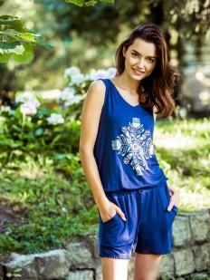 Пляжный синий женский комбинезон с шортами