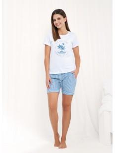 Летняя женская пижама из хлопка с шортами в полоску