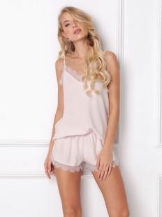 Розовая летняя женская пижама из вискозы с шортиками и топом