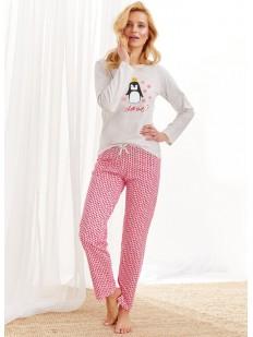 Брючная женская пижама из хлопка с милым рождественским принтом
