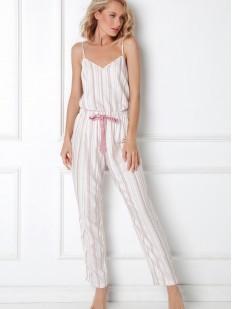 Трикотажная женская пижама в полоску с брюками и топом