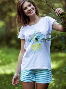 Хлопковая женская пижама в полосочку с футболкой и шортами KEY LNS