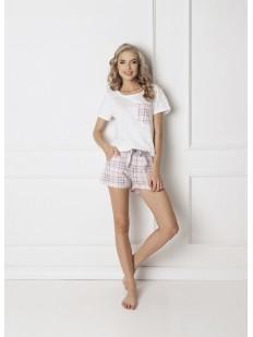 Женская хлопковая пижама с шортами в клетку