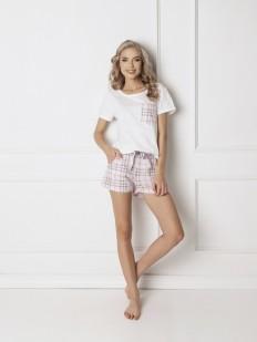 Женская хлопковая пижама с шортами в клетку ARUELLE Londie white