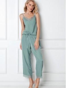 Женская трикотажная пижама мятного цвета с брюками и топом