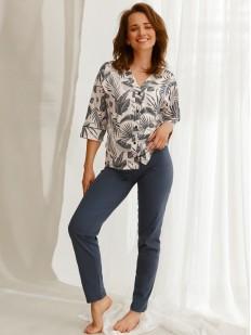 Женская пижама из хлопка: брюки и принтованная рубашка