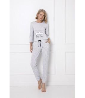 Утепленная трикотажная женская пижама серого цвета с брюками и кофтой