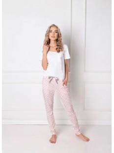 Женская хлопковая пижама со штанами зауженного кроя
