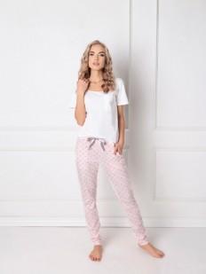 Теплая женская пижама со штанами зауженного кроя ARUELLE Q white