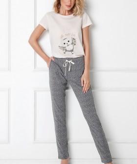 Хлопковая женская пижама со штанами и футболкой с совой
