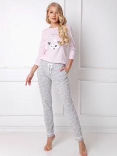 Женская пижама с хлопковыми брюками и розовой кофтой с лисичкой