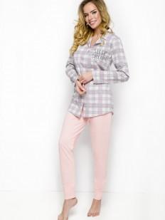 Женская хлопковая пижама со штанами и рубашкой в клетку