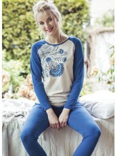 Женская трикотажная синяя пижама со штанами и принтом