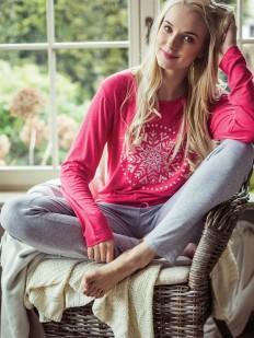 Теплая женская пижама с брюками трикотажная