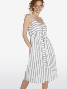 Пляжное платье из вискозы в полоску с карманами