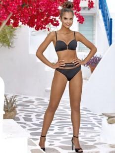Раздельный черный купальник без косточек с высоким поясом