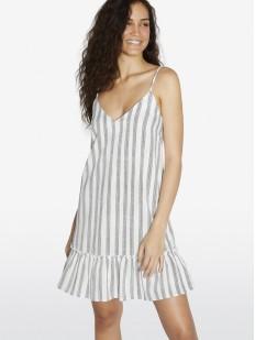 Свободное пляжное платье в полоску на тонких бретелях