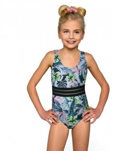 Слитный купальник для девочек с растительным принтом