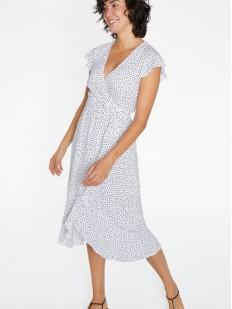 Удлиненное пляжное платье из легкой вискозы в горошек