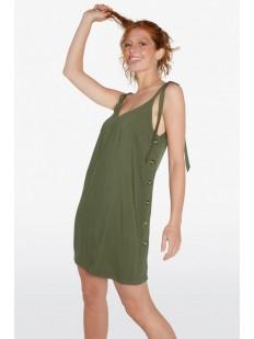 Короткое пляжное платье цвета хаки на тонких бретелях