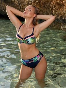Раздельный женский купальник с ярким растительным принтом