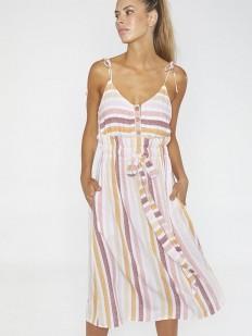 Пляжное полосатое платье на тонких бретелях с боковыми карманами