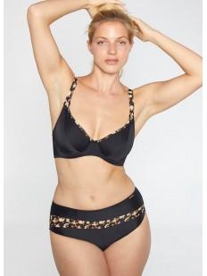 Женский раздельный купальник черный с леопардовым принтом и высокими трусиками