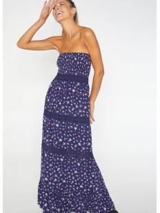 Длинное пляжное платье без бретелей с цветочным рисунком