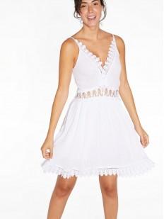 Короткое пляжное платье из вискозы с вязаными элементами