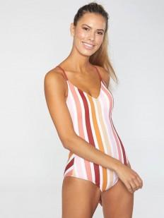 Слитный женский купальник в полоску с открытой спиной