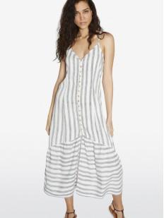 Длинное полосатое пляжное платье на пуговицах