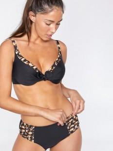 Женский раздельный купальник черный с леопардовым рисунком