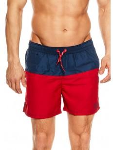 Мужские сине-красные купальные шорты на завязках с подкладкой