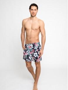 Купальные мужские шорты с цветным принтом