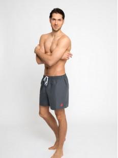 Серые мужские шорты для пляжа с карманами