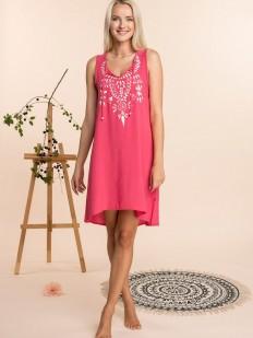 Летнее женское домашнее розовое платье из вискозы