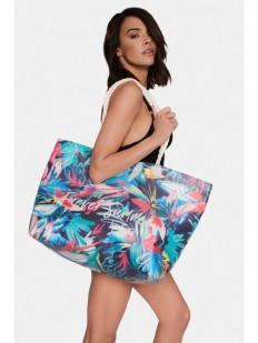 Большая пляжная сумка с цветочным принтом