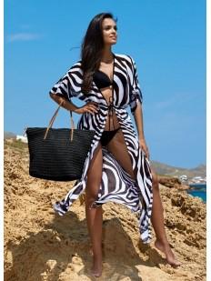 Женское пляжное платье парео длинное с анималистичным принтом