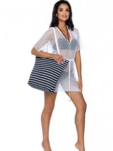 Женская пляжная сумка в черно-белую полоску