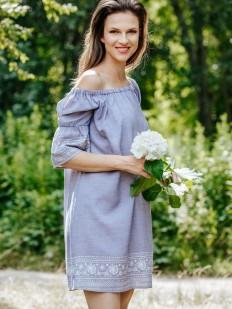 Летнее женское платье туника из вискозы с открытыми плечами