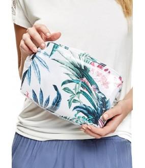 Пляжная белая косметичка с растительным принтом