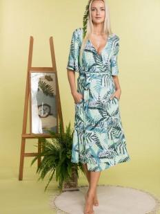 Летний женский домашний халат из вискозы с тропическим принтом