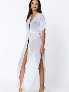 Длинное белое пляжное платье парео с коротким рукавом