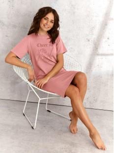 Хлопковая ночная сорочка с розами и надписью CHEER UP