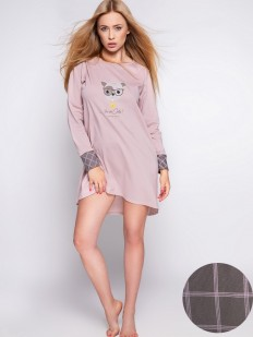 Женская розовая сорочка из хлопка с длинным рукавом и клетчатыми манжетами