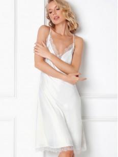Свадебная белоснежная атласная сорочка с кружевной отделкой